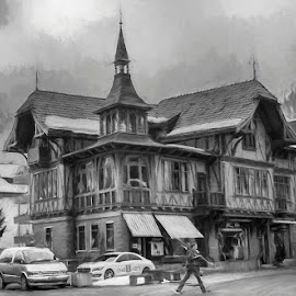 by Pravine Chester - Digital Art Places ( building, monochrome, black and white, swiss home, architecture, engelberg )