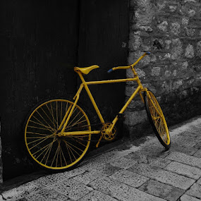 yellow bike   by Čedna Dadić - Transportation Bicycles ( bike, transport, street, yellow )