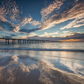 Jetty Reflections by Steve Badger - Landscapes Cloud Formations ( south australia, port noarlunga, australia, adelaide, jetty )