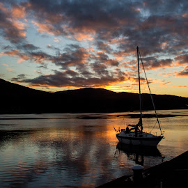 Corpach by Dez Green - Landscapes Waterscapes ( scotland, sunset, boat, highlands, evening, corpach )