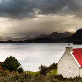 Loch Torridon in Scotland by Pete Barnes - Landscapes Mountains & Hills ( clouds, scotland, peaceful, mountain, sea, house, seascape, beauty, loch, landscape, highlands, torridon, photography, roof, red, sky, cottage, photographer, moody, scene, view, panoramic )