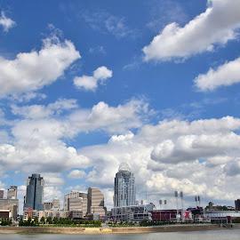 Wide Open Spaces by Robin Stover - City,  Street & Park  Skylines ( clouds, landmark, skyline, buildings, cityscape, cincinnati, city )