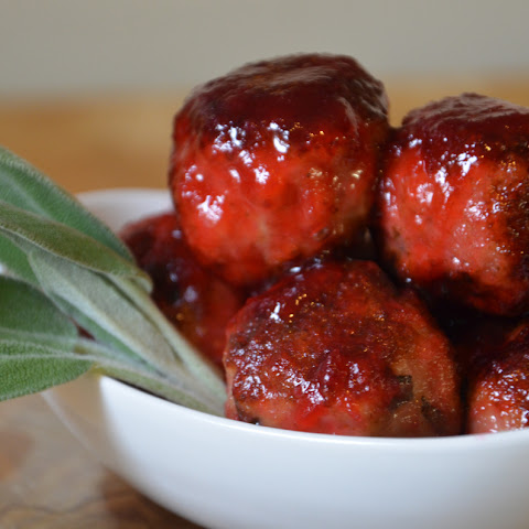 Turkey Sage Meatballs with Cranberry Glaze