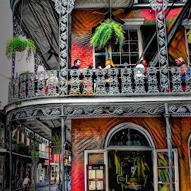 Wrought Iron Everywhere by Dave Walters - Digital Art Places ( streets, restaurant, wrought iron, french quarter, new orleans, colors )