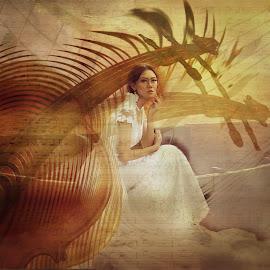 music by Kathleen Devai - Digital Art People ( music, violin, woman, boat )