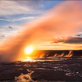Inferno by Gavin Seim - Landscapes Sunsets & Sunrises ( water, yellowstone, geyser, gavin seim, yellowstone national park, waterspout )