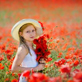in Poppy field by Kristina Nutautiene - Babies & Children Child Portraits ( red, poppy flower, children, poppy, portrait )