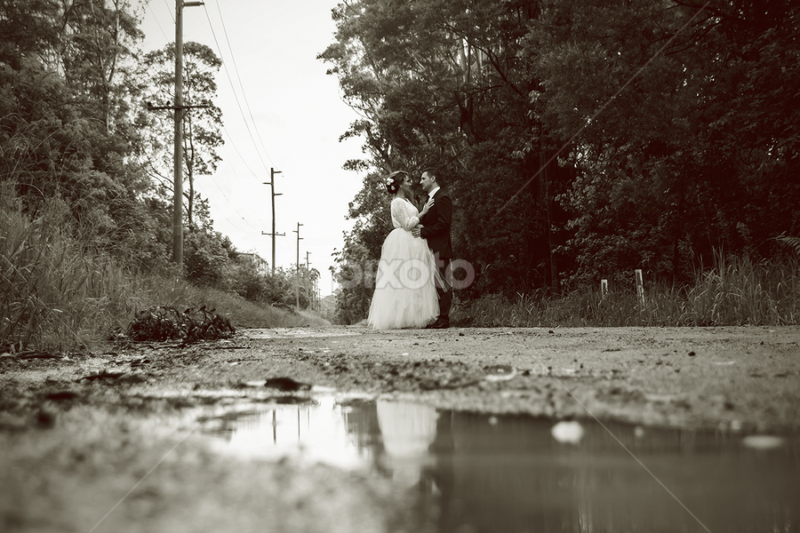 Puddles by Mel Stratton - Wedding Other ( wedding, wet, puddle, bride, groom, rain,  )