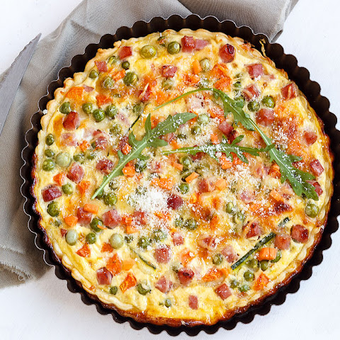 Ham and Cheese Quiche with Spring Vegetables