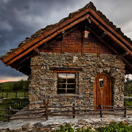 it was a stormy day ... by Borislav Krustev - Buildings & Architecture Other Exteriors ( stormy, building, ue, wooden house, stone house, nature close up )