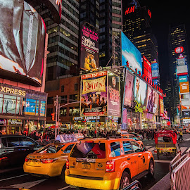 TimesSquare color madness by Efraim van der Walt - City,  Street & Park  Street Scenes ( yellow taxis, street scene, colours, night scape, city )