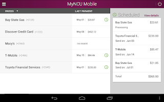 Screenshot of MyNCU Mobile