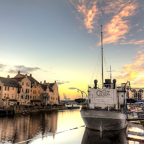 Bay Sunrise by Mark Holm - City,  Street & Park  Historic Districts ( shore, leith, edinburgh, bay, boats, sunrise )