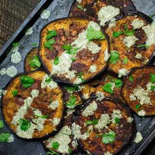Crisp Spiced Eggplant with Mint Chuntey