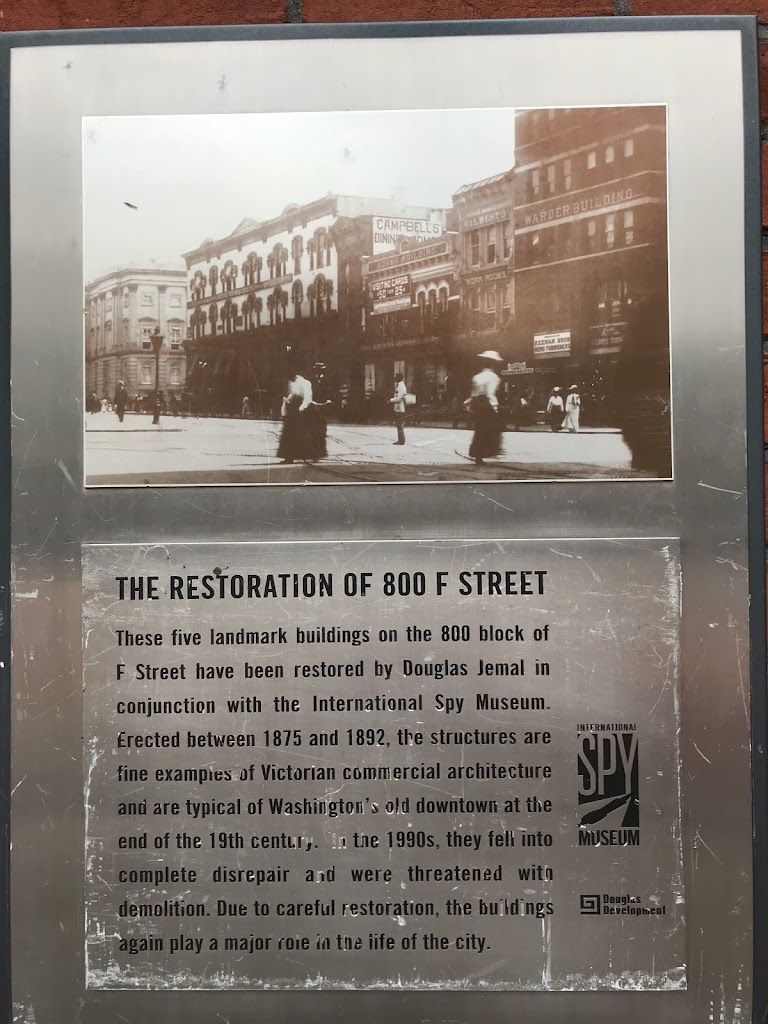 The Restoration of 800 F StreetThese five landmark buildings on the 800 block of F Street have been restored by Douglas Jemal in conjunction with the International Spy Museum. Erected between 1875 ...