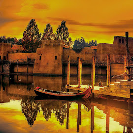 boat on a river by Egon Zitter - Buildings & Architecture Public & Historical ( water, building, sunset, historical, house, river )