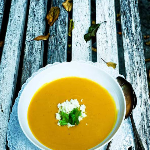 Indian Pumpkin Soup with A Spicy Coconut Chutney