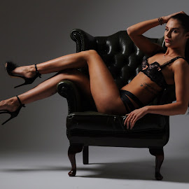 How to Sit in an Armchair by DJ Cockburn - People Portraits of Women ( torso, lingerie, sitting, izabela, low key, woman, brunette )