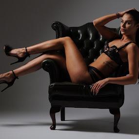 How to Sit in an Armchair by DJ Cockburn - People Portraits of Women ( torso, sitting, lingerie, low key, izabela, woman, brunette,  )