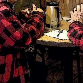 The Morning Before by Allen Crenshaw - Illustration People ( red and black, breakfast, plaid, tradition, coffee, illustration, candid, photography )