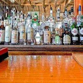 Chin on the Bar by Richard Michael Lingo - Artistic Objects Business Objects ( artistic objects, bar, business objects, saloon, bottles,  )
