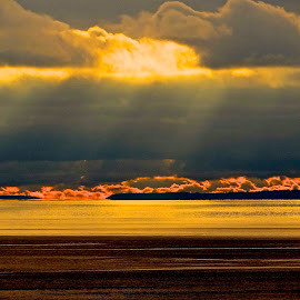 Semiahmoo Bay, late afternoon, winter.  by Campbell McCubbin - Landscapes Sunsets & Sunrises ( clouds, sunset, sunrays, ocean, island )