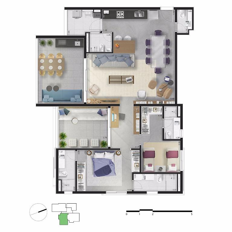 Planta Apto 32 - 146 m²