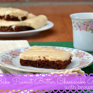 No Bake Peanut Butter Cheesecake Bars with Brownie Crust