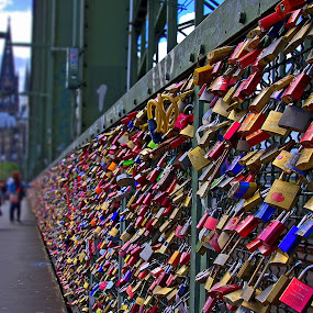 Love Locks by Thomas Stroebel - Artistic Objects Other Objects ( cologne, color, u-lock, love-locks, hohenzollernbrücke )