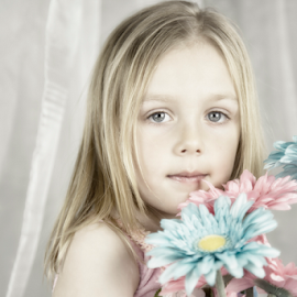 To Dream by Jacqui Sjonger - Babies & Children Child Portraits ( fantasy, high key, child, dreamy, dream, daisy, childhood, imagination, flowers, flower )