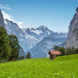 Somewhere in Alps by Nikolas Ananggadipa - Buildings & Architecture Homes ( mountain, grass, trees, small house, house )