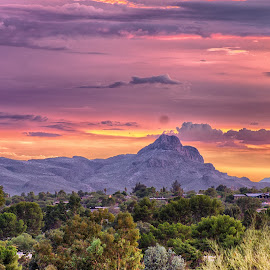 Red Mountain by Charlie Alolkoy - Landscapes Mountains & Hills ( sky, desert, sunset, arizona, tucson, sunrise )