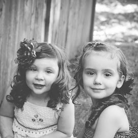 Girls by Jenny Hammer - Babies & Children Children Candids ( girls, best friends, black and white, bffs, kids, cute )