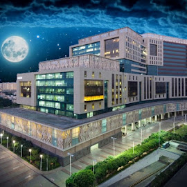 The Night Beauty by Sanam Ahmed Khan - Illustration Buildings ( gurgaon, dlf cybercity., sanamkhan, cybercity, mercer, india, landscape )