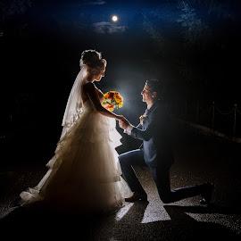 Love under the moon by Klaudia Klu - Wedding Bride & Groom