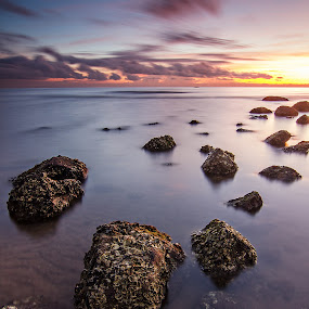 Oysters' Grave by Geb Bunado - Landscapes Waterscapes ( oyster, long exposure, sunrise, seascape, rocks, philippines )