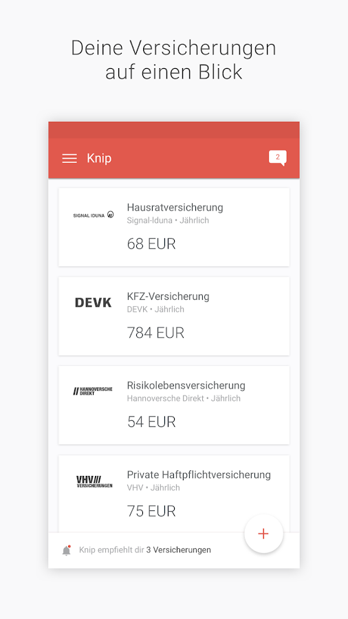 Knip Versicherungsmanager Screenshot