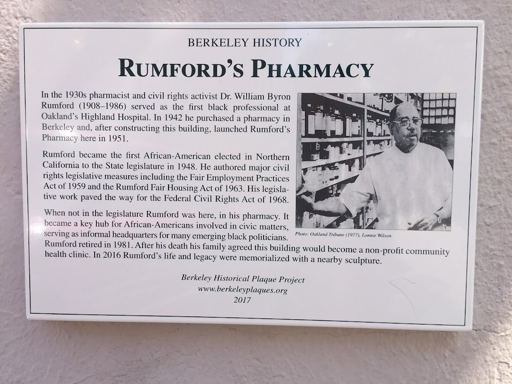 BERKELEY HISTORY RUMFORD's PHARMACY In the 1930s pharmacist and civil rights activist Dr. William Byron Rumford (1908-1986) served as the first black professional at Oakland's Highland Hospital. In ...