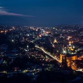 Sarajevo blue hour by Almir Custo - City,  Street & Park  Night ( night photography, night lights, blue hour, sarajevo, cityscape )