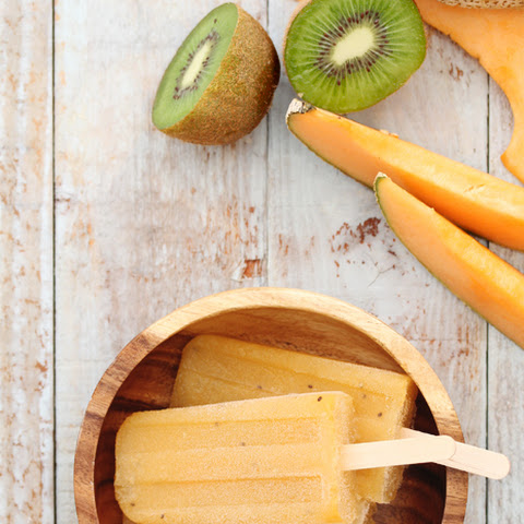 Cantaloupe and Kiwi Daiquiri Popsicles