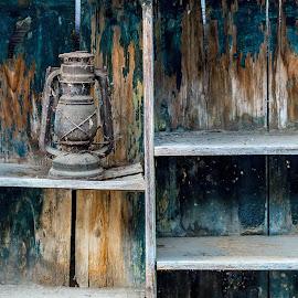 A long, long time ago... by Ovidiu Sova - Artistic Objects Still Life ( wood, vintage, lamp, old shelf, feather )