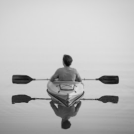 Peace and reflection by Mitch Tranmer - Black & White Objects & Still Life ( b&w, serenity, peace, lake, kayak )