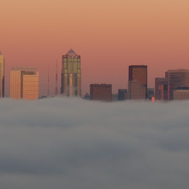 Seattle Skyling at Sunset with Fog by Loreen Parkerson - Landscapes Weather