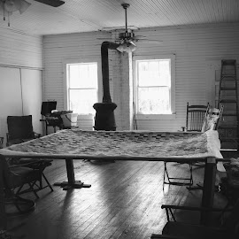 Quilting Room by Rick Covert - Black & White Objects & Still Life ( rustic, school, vintage, arkansas, empty )