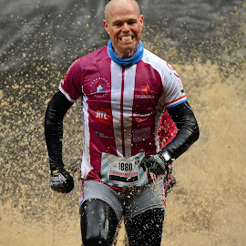 Yes, I Will Do It ! by Marco Bertamé - Sports & Fitness Other Sports ( bald head, water, splash, splatter, concentrated, number, soup, stripes, running, escape, muddy, 1880, strong, determined, brown, pink, stronmanrun, man )