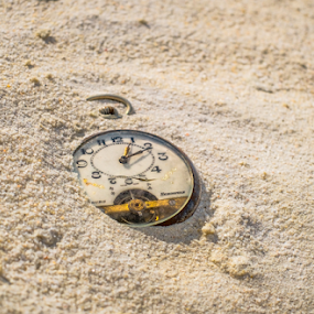 Sands of time by Opreanu Roberto Sorin - Artistic Objects Antiques ( nobody, concept, old, lost, retro, beach, forgotten, minute, time, metal, timer, buried, cracked, gold, closeup, abstract, sand, vintage, clock, watch, texture, yesterday, number, metaphor, hour, past, timepiece, pocket, sunset, hidden, outdoor, summer, deadline, natural, antique, conceptual,  )