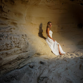 Carmen by Charl Bence - People Portraits of Women ( solo, dress, white, rock, cave, women )