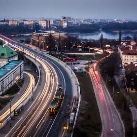 Warsaw street lights by Adrian Ioan Ciulea - City,  Street & Park  Street Scenes ( houses, dawn, street, historic district, long exposure, palace, warsaw, city )