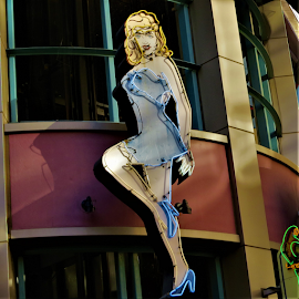 Vegas Hottie by Hal Gonzales - Artistic Objects Signs ( neon, sign, show, girl, las vegas,  )