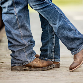 Two Step by Pat Eisenberger - People Body Parts ( cowboy boots, cowboy, western, couple, boots, country, engagement )